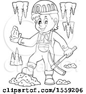 Clipart Of A Lineart Miner Holding Ore Royalty Free Vector Illustration by visekart