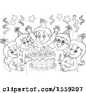 Clipart Of A Lineart Group Of Children Celebrating At A Birthday Party Royalty Free Vector Illustration