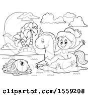 Clipart Of A Lineart Girl On A Unicorn Swim Float Royalty Free Vector Illustration