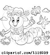 Poster, Art Print Of Lineart Caterpillar Holding Up A Finger