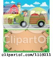 Clipart Of A Farmer Driving A Pickup Truck Over A Scroll Royalty Free Vector Illustration