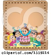 Clipart Of A Group Of Children Celebrating At A Birthday Party On A Parchment Page Royalty Free Vector Illustration