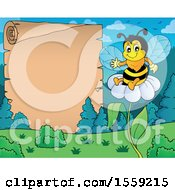 Poster, Art Print Of Bee On A Flower By A Scroll