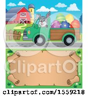 Poster, Art Print Of Bunny Driving A Pickup Truck Full Of Easter Eggs Over A Scroll