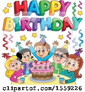 Clipart Of A Happy Birthday Greeting Over A Group Of Children Celebrating At A Party Royalty Free Vector Illustration