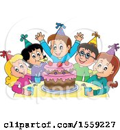 Clipart Of A Group Of Children Celebrating At A Birthday Party Royalty Free Vector Illustration by visekart