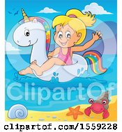 Clipart Of A Girl On A Unicorn Swim Float Near A Beach Royalty Free Vector Illustration