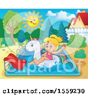 Clipart Of A Girl On A Unicorn Float In A Swimming Pool Royalty Free Vector Illustration by visekart