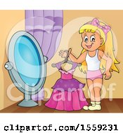 Clipart Of A Girl Holding A Dress By A Mirror Royalty Free Vector Illustration by visekart
