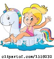 Clipart Of A Girl On A Unicorn Swim Float Royalty Free Vector Illustration by visekart