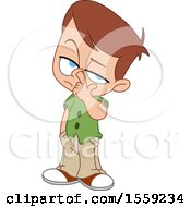 Clipart Of A Little Boy Picking His Nose Royalty Free Vector Illustration