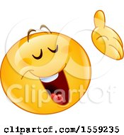 Clipart Of A Yellow Emoji Smiley Presenting Royalty Free Vector Illustration