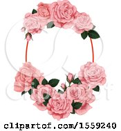 Clipart Of A Pink Rose Frame Design Royalty Free Vector Illustration