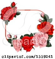 Poster, Art Print Of Red And Pink Rose Frame Design