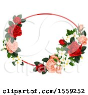 Clipart Of A Red And Pink Rose Frame Design Royalty Free Vector Illustration