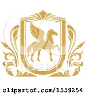 Clipart Of A Golden Yellow Pegasus Shield Royalty Free Vector Illustration