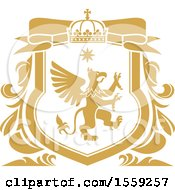 Clipart Of A Golden Yellow Griffin Shield Royalty Free Vector Illustration by Vector Tradition SM