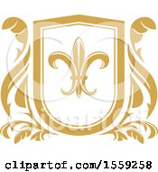 Clipart Of A Golden Yellow Fleur De Lis Shield Royalty Free Vector Illustration by Vector Tradition SM