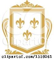 Golden Yellow Fleur De Lis Shield