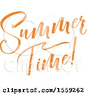 Clipart Of An Orange Summer Time Text Design Royalty Free Vector Illustration