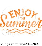 Clipart Of An Orange Enjoy The Summer Text Design Royalty Free Vector Illustration