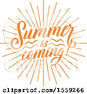 Clipart Of An Orange Summer Is Coming Text Design Royalty Free Vector Illustration