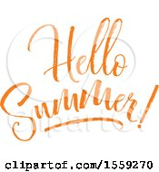 Clipart Of An Orange Hello Summer Text Design Royalty Free Vector Illustration