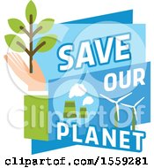 Poster, Art Print Of Blue And Green Eco Design With Text