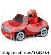 Poster, Art Print Of 3d Red T Rex Dinosaur Driving A Convertible On A White Background