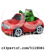 April 19th, 2018: Clipart Of A 3d Green T Rex Dinosaur Driving A Convertible On A White Background Royalty Free Illustration by Julos