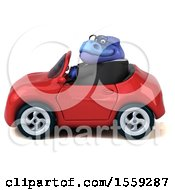 Poster, Art Print Of 3d Blue Business T Rex Dinosaur Driving A Convertible On A White Background