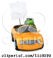 Poster, Art Print Of 3d Green Business T Rex Dinosaur Driving A Convertible On A White Background