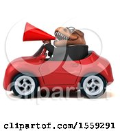 Poster, Art Print Of 3d Brown Business T Rex Dinosaur Driving A Convertible On A White Background