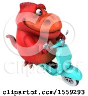 Poster, Art Print Of 3d Red T Rex Dinosaur Riding A Scooter On A White Background
