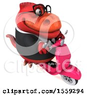 Poster, Art Print Of 3d Red Business T Rex Dinosaur Riding A Scooter On A White Background
