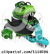 Poster, Art Print Of 3d Green Business T Rex Dinosaur Riding A Scooter On A White Background