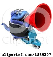 Poster, Art Print Of 3d Blue Business T Rex Dinosaur Riding A Scooter On A White Background