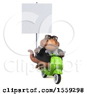 Poster, Art Print Of 3d Brown Business T Rex Dinosaur Riding A Scooter On A White Background