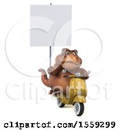 Poster, Art Print Of 3d Brown T Rex Dinosaur Riding A Scooter On A White Background