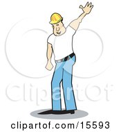 Male Construction Worker Wearing A Hardhat And Waving