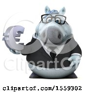 April 19th, 2018: Clipart Of A 3d Chubby White Business Horse Holding A Euro On A White Background Royalty Free Illustration by Julos