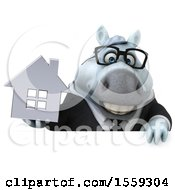 April 19th, 2018: Clipart Of A 3d Chubby White Business Horse Holding A House On A White Background Royalty Free Illustration by Julos