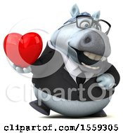 April 19th, 2018: Clipart Of A 3d Chubby White Business Horse Holding A Heart On A White Background Royalty Free Illustration by Julos