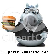 April 19th, 2018: Clipart Of A 3d Chubby White Business Horse Holding A Burger On A White Background Royalty Free Illustration by Julos