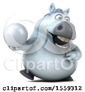 April 19th, 2018: Clipart Of A 3d Chubby White Horse Holding A Golf Ball On A White Background Royalty Free Illustration by Julos