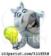 Poster, Art Print Of 3d Chubby White Horse Holding A Light Bulb On A White Background