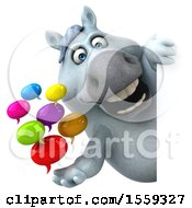 3d Chubby White Horse Holding Messages On A White Background