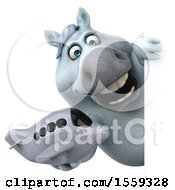 April 19th, 2018: Clipart Of A 3d Chubby White Horse Holding A Plane On A White Background Royalty Free Illustration by Julos