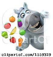 3d Chubby White Horse Holding Produce On A White Background
