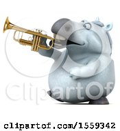 Poster, Art Print Of 3d Chubby White Horse Holding A Trumpet On A White Background
